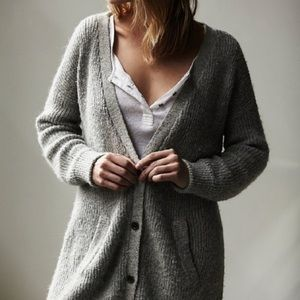 FREE PEOPLE Gray Cloudy Day Oversized Alpaca Button Up Cardigan